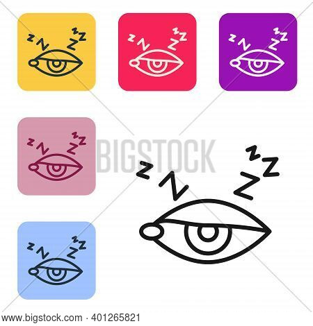 Black Line Insomnia Icon Isolated On White Background. Sleep Disorder With Capillaries And Pupils. F