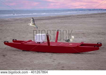 Red Lifeboat With Seagulls Red Sea Rescue Boat With Seagulls