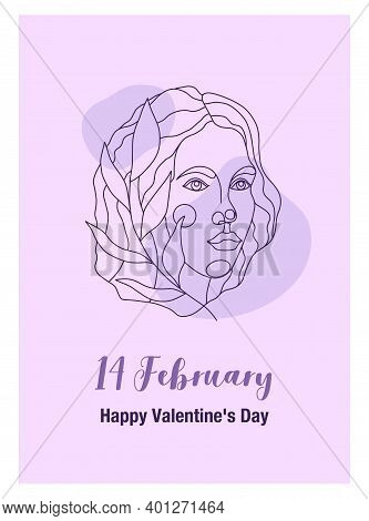 Postcard With A Portrait Of A Woman For February 14. Line Art Portrait With A Branch With A Portrait