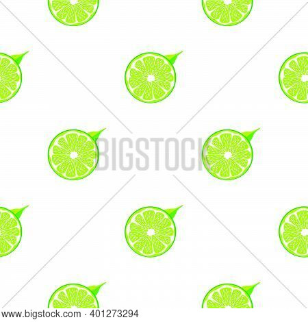 Illustration On Theme Big Colored Seamless Green Lime, Bright Fruit Pattern For Seal. Fruit Pattern