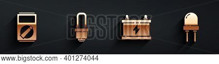 Set Multimeter, Led Light Bulb, Car Battery And Light Emitting Diode Icon With Long Shadow. Vector