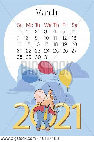Bull. March 2021. Calendar. Funny Calf On The Background With Colorful Balloons And Large Numbers.