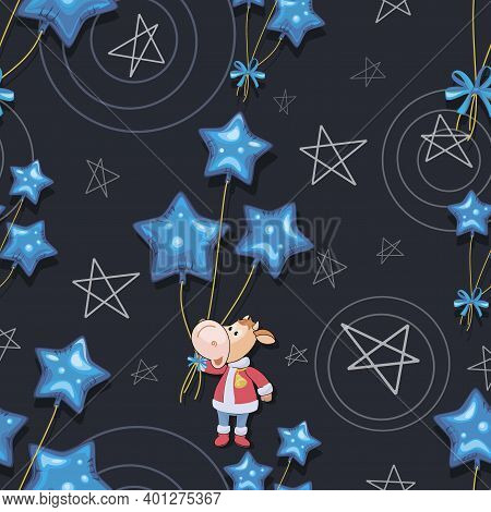 Calf 2021. Holiday Bull. Santa Claus. New Year, Merry Christmas. Cute Little Calf With Balloons