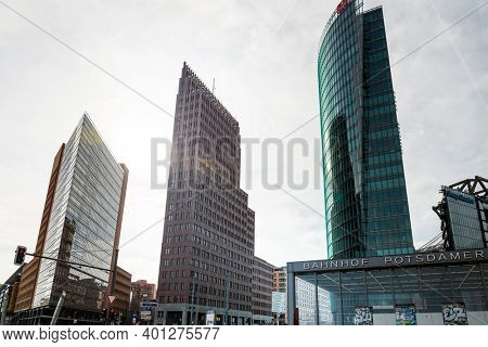 BERLIN, GERMANY- March 11, 2018: Typical Street view in Berlin, Germany. Berlin is the capital of Germany. With a population of approximately 3.5 million people. BERLIN, GERMANY