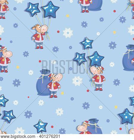 Bull 2021. Calf. Santa Claus. Festive Winter Background. Cute Little Calf. Seamless Background