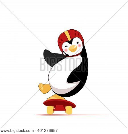 Penguin Rides Skate Wearing Hamlet And Smiling