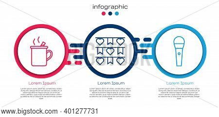 Set Line Mulled Wine, Carnival Garland With Flags And Karaoke Microphone. Business Infographic Templ