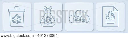 Set Line Recycle Bin With Recycle, Co2 Emissions In Cloud, Garbage Bag With Recycle And Paper With R