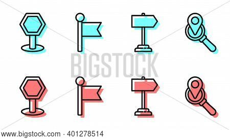 Set Line Road Traffic Sign, Road Traffic Sign, Location Marker And Search Location Icon. Vector