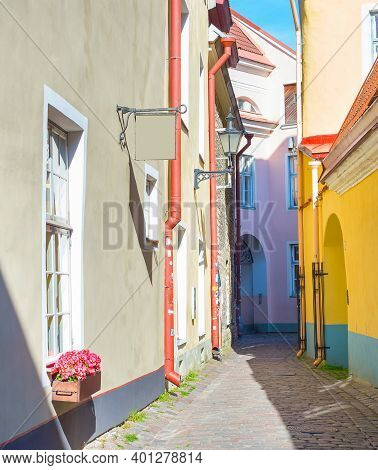 View Of Old Town Street Of Tallinn, Estonia