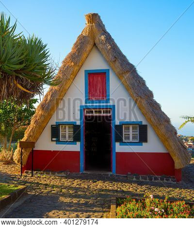 Traditional Famous Rural House In Santana, Madeira Island, Portugal.