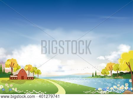 Panorama Landscape Of Spring Village With Green Meadow On Hills With Blue Sky, Vector Summer Or Spri