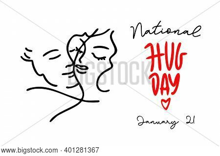 Hug Day. Illustration Of A Banner For National Hug Day. 21 January. Valentines Day. Line Graphics.
