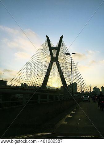 SÃo Paulo, Brazil - Sep 02, 2020 Crossing The Cable-stayed Bridge In São Paulo During The Quarantine