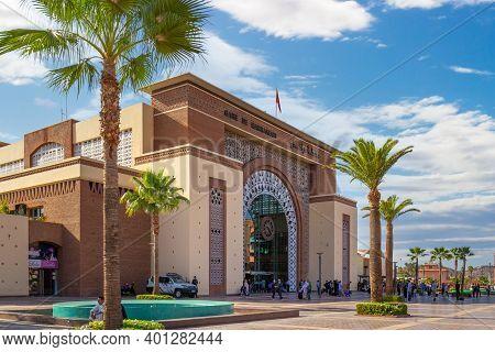 Marrakesh, Morocco - 12 October, 2019: New Marrakesh Railway Station.