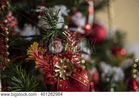 Detail Of Christmas Decorations On The Christmas Tree