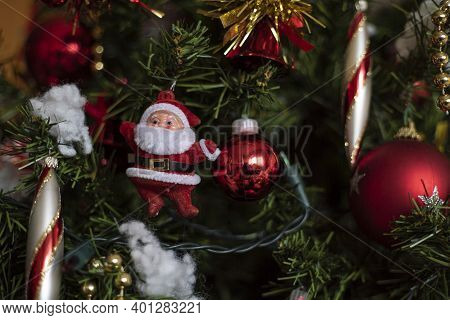 Detail Of Santa Claus Christmas Decorations On The Christmas Tree