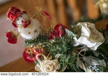 Close Up Detail Of Snowman Christmas Decorations Indoor In A House