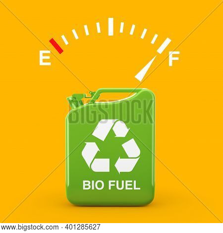 Fuel Dashboard Gauge Sign Showing A Full Tank Near Of Green Metal Jerrican With Bio Fuel Sign On A Y