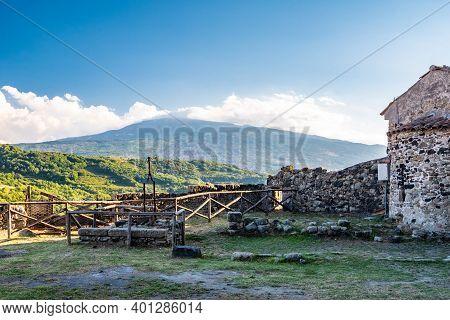 Mount Etna From Lauria Castle In Castiglione Di Sicilia, Italy