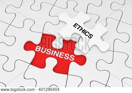 One Piece Of White Jigsaw Puzzle Over Plain Of White Puzzle With Business Ethics Sign On A Red Backg