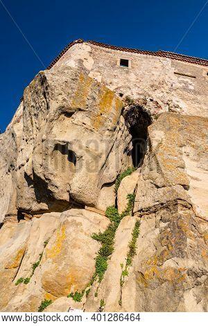 Low Angle View Of Lauria Castle In Castiglione Di Sicilia, Italy
