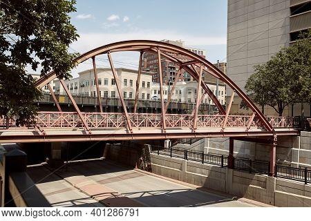 Pedestrian Bridge Over Street In Downtown Denver.  Denver, Colorado, Usa