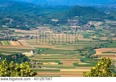 Hrvatsko Zagorje. Aerial View Of Bednja River Valley And Bela Citadel. Nature Under Ivanscica Mounta