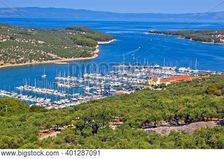 Island Of Cres Bay Sailing Marina Aerial View, Archipelago Of Kvarner, Croatia