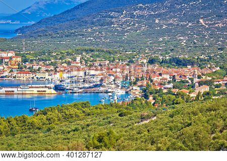 Adriatic Town Of Cres Bay Colorful Aerial View, Archipelago Of Kvarner, Croatia