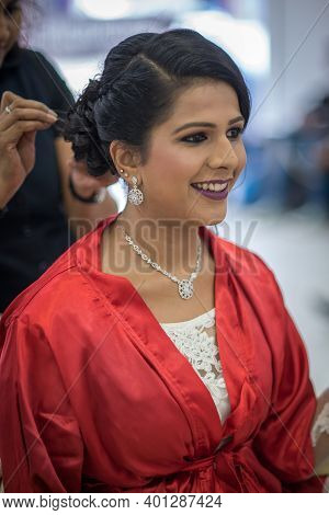 Kerala, India, 08-12-2017. Bride At Hair Stylist. Catholic Wedding In The Province Of Kerala In Sout