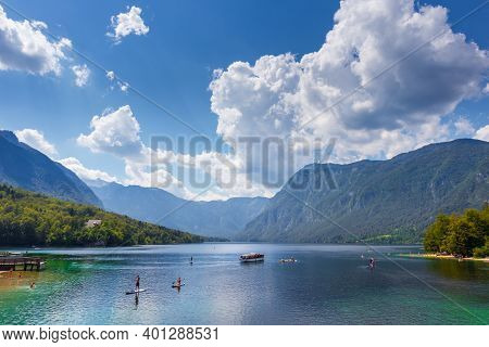 Beautiful Lake Bohinj In Slovenia With Its Sights In Summer.