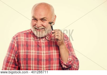 Barber Salon. Grooming Beard. Barbershop Concept. Shave Sharp Blade. Smooth Clean Skin. Man Bearded