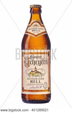 Photo Of A Bottle Of Beer Kloster Scheyern Gold On A White Background