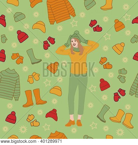 Girl Is Delighted With The Variety Of Autumn-winter Clothes. Seamless Pattern, Vector Illustration