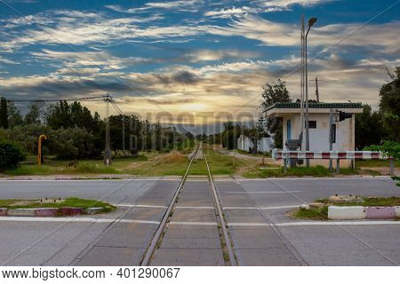 Level Crossing And Single Track Railway Line On Hammamet, Tunisia