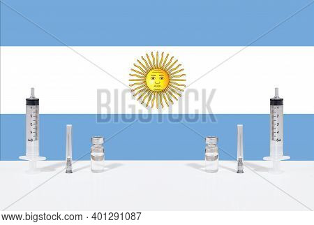 Flag Of Argentina Illustrating Campaign For Global Vaccination Against Covid-19. Epidemic Virus