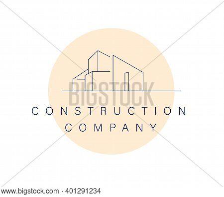 Vector Construction Company Brand Design Template. Building Company And Architect Bureau Insignia, L
