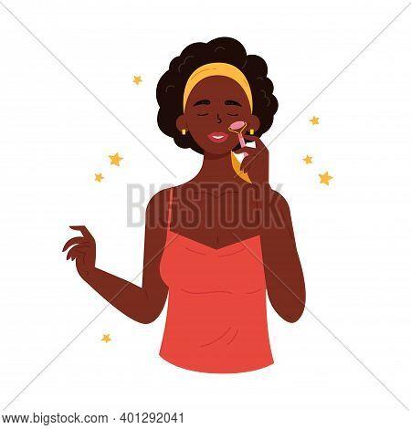 Facial Gua Sha Massage. Woman With Facial Quartz Roller. Facial Yoga. Young Woman Massaging Her Face