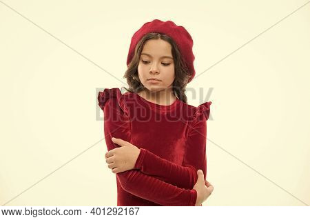 Pure Beauty. Kid Fashion And Beauty. Small Girl Looking Stylish. Childhood Happiness. Cute Girl In R