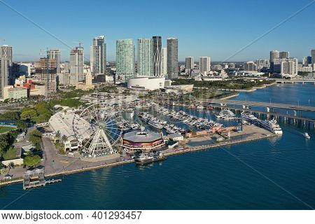 Miami, Florida - December 27, 2020 - Aerial View Of Bayside Marketplace, City Of Miami Marina And Mi