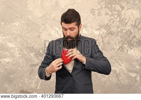 Greedy Man Hiding Feelings. Businessman Love Symbol Valentines Day. Ready For Romantic Date. Romanti