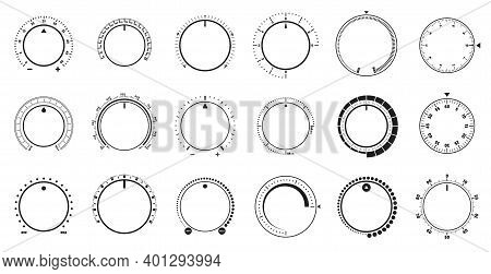 Volume Level Knob, Rotary Dials With Round Scale And Round Controller. Min And Max Radial Selector V