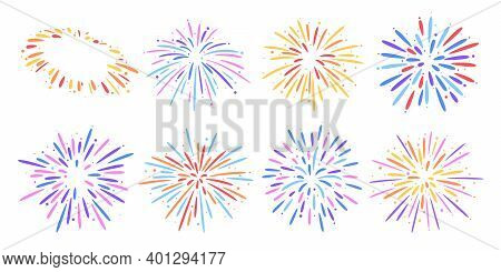 Festival Firework Explosions, Colorful Burst Flat Vector Set.