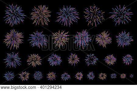 Festival Firework Explosions In Different Sizes, Multi Coloured Burst Vector Set