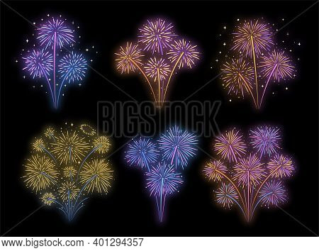 Firework Explosions With Sparks And Glow Effect. Hand Drawn Colorful Bursts, Vector Set.