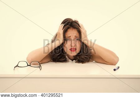 Desperate Secretary. Overworked Business Woman In Office. Sexy Lady With Red Lips. Tired Woman Suffe