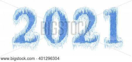 2021 New Year Ice Number. Symbol Of The Year In The Form Of Numbers From Frozen Water With Icicles.