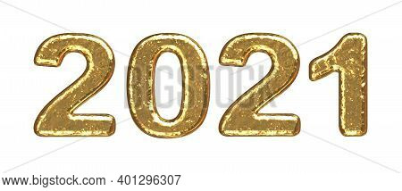 2021 New Year Gold Number. Stylized Numbers For Gold Bars. Symbol Of The Year In The Form Of Numbers