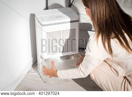 Woman Changing Water Container In Air Dryer, Dehumidifier, Humidity Indicator. Humid Air At Home. Fr